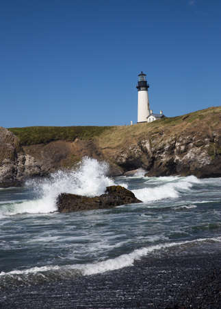 Yaquina Head Black and White Lighthouse Stock Photo