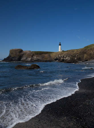 bridget calip: Yaquina Head Black and White Lighthouse Stock Photo