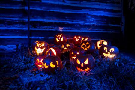 Halloween Pumpkins LIt With Blue Light