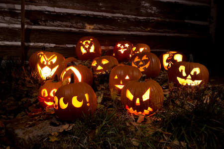 Jack-O-Lanterns Carved for Halloween Lit in Orange in Grass With Fallen Leaves By a Barn Banco de Imagens