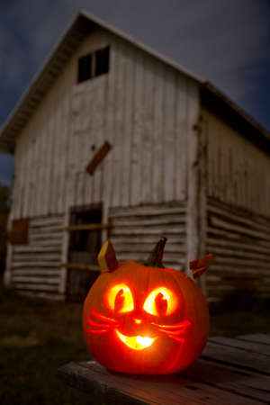 Kitty Cat Jack-O-Lantern on a Picnic Table With Barn Stock Photo