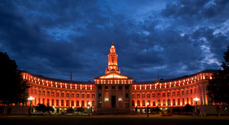 Denver City and County Building Lit Up For Denver Broncos Championship Game