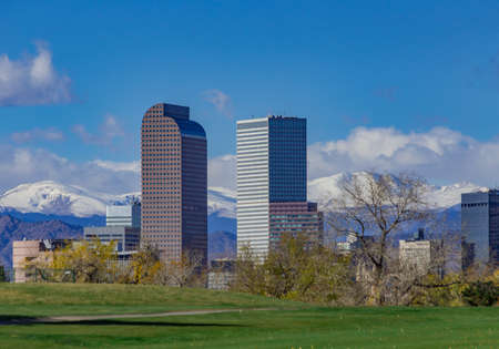 Snow Covered Mount Evans and the Tallest Skyscrapers of the Denver Skyline