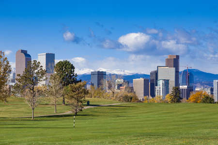 Downtown Denver Skyline in the Fall with Snow Covered Rocky Mountains