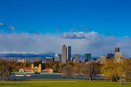 City Park Boathouse and Denver Skyline, Colorado Stock Photo