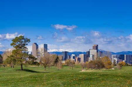 Denver Skyline in the Fall from City Park Golf Course Stock Photo