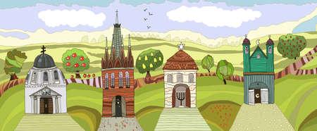 landscape with temples Illustration