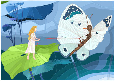 Thumbelina with butterfly