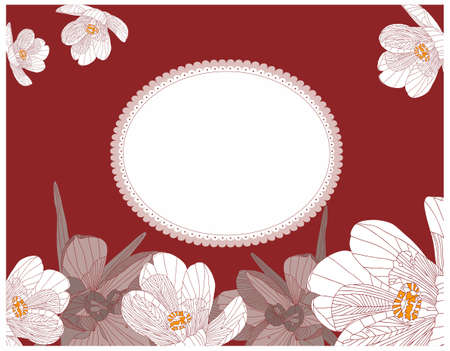Floral background with label - vintage