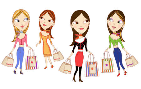 Shopping fashion girls Illustration