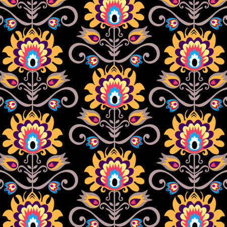 floral folk black background Vector