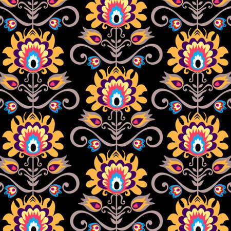 floral folk black background Illustration