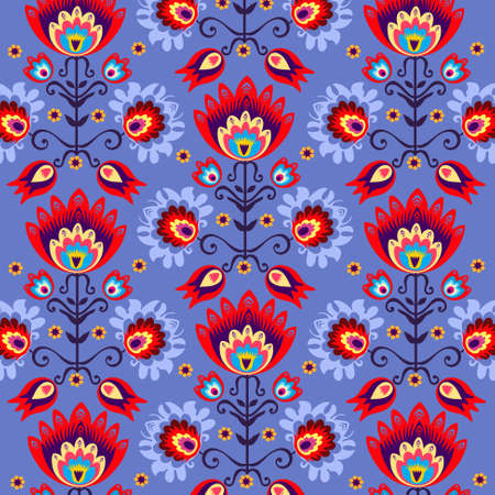 floral folk blue background Vector
