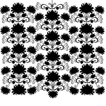 folk pattern black and white Illustration