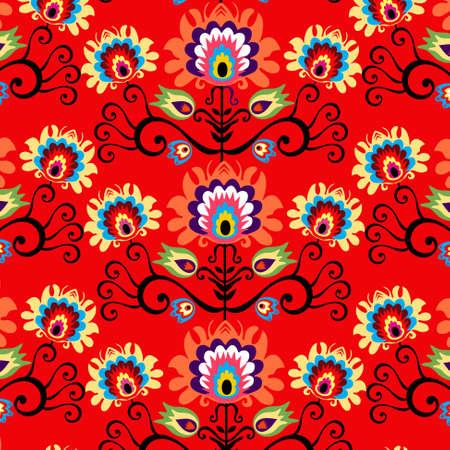 seamless folk red background