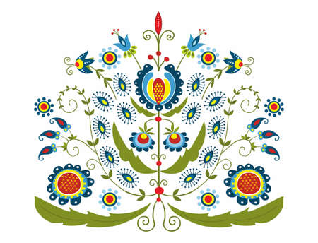 polish folk with decorative floral