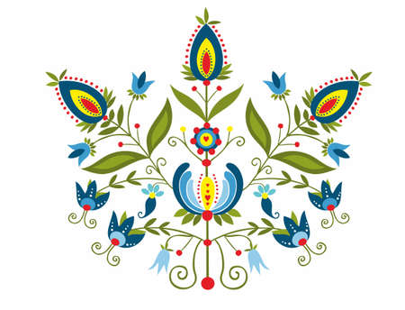 folk art: polish folk with ornamental floral Illustration