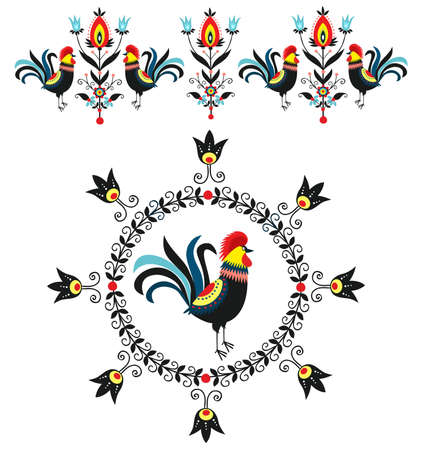 Folk Decorations Of Roosters Vector