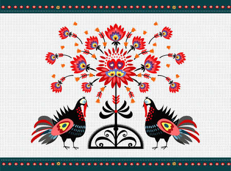 Folk Pattern With Turkeys Vector