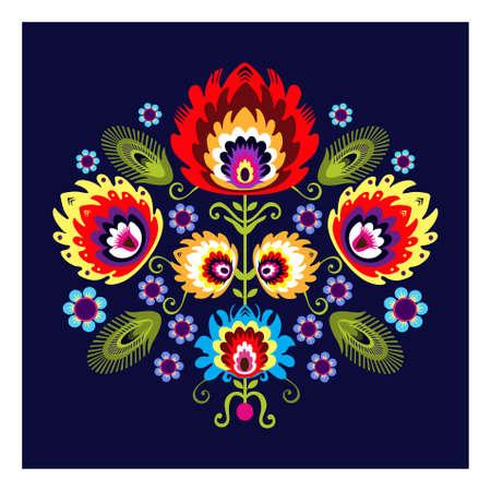 꽃과 함께 민속 패턴 일러스트