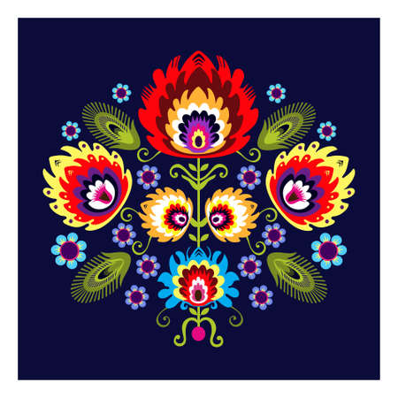 Folk Pattern With Flower Vector