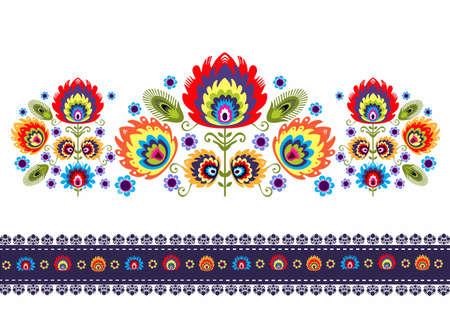 Folk patroon met bloemen