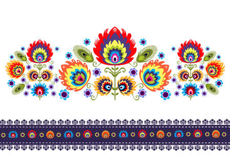 Folk Pattern With Flowers Vector