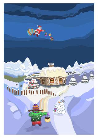 Landscape with Santa Claus Illustration