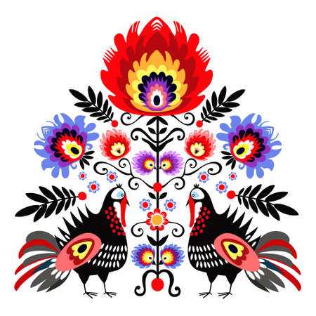 Folk Embroidery WithTurkeys