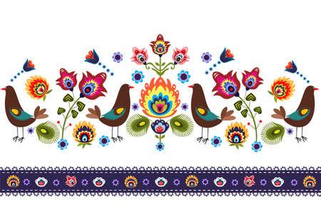鳥と民俗のパターン  イラスト・ベクター素材