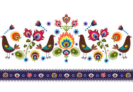Folk Pattern With Birds