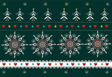 Folk Pattern Christmas - Background Illustration