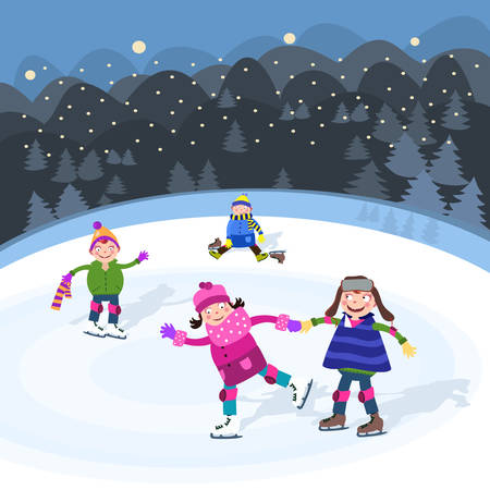 Ice skating  Ilustrace