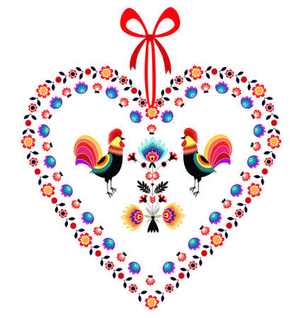 Love Roosters with heart Vector