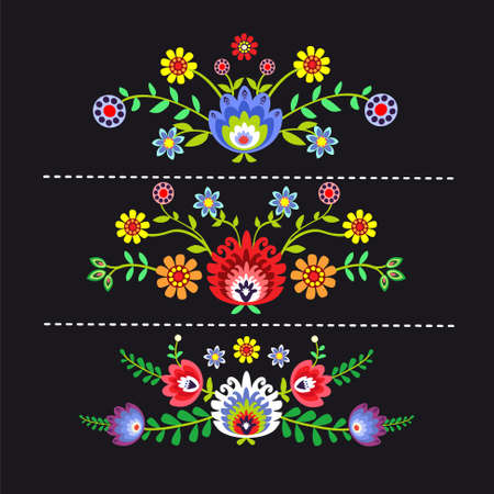 embroidery: folk pattern with flowers - options Illustration