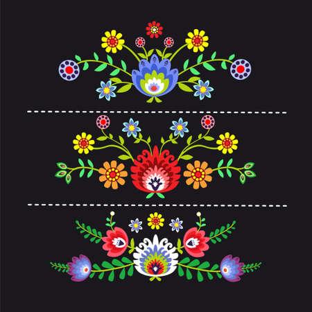 folk pattern with flowers - options Illustration