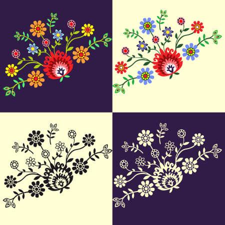 broderie: motif folklorique - quatre options Illustration