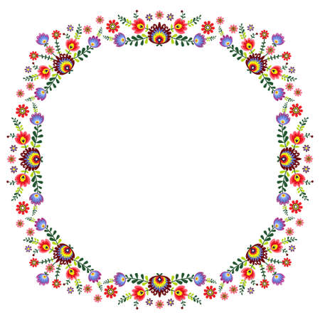 folk pattern - frame with flowers Ilustrace