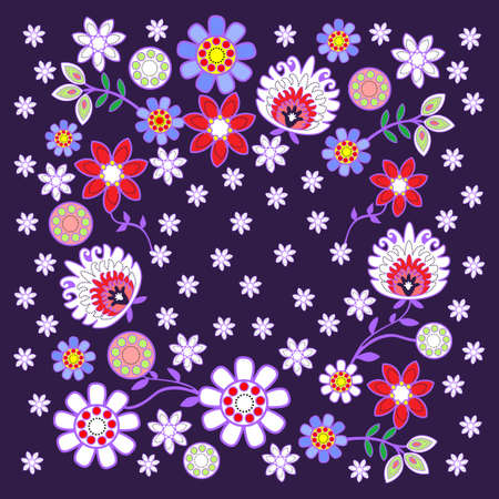 folk pattern with flowers in dark background Ilustrace