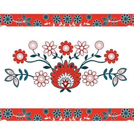 bordados: folk patrón con flores rojas Vectores