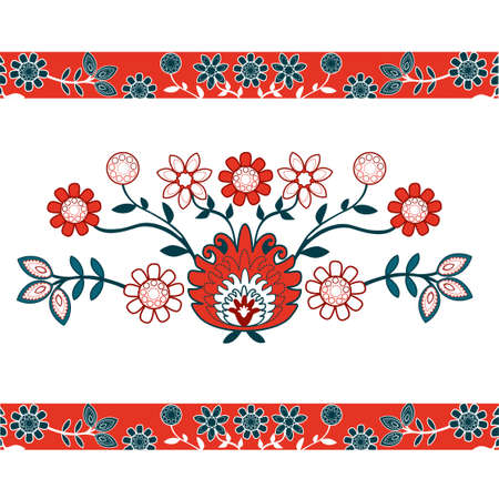 folk pattern with red flowers 向量圖像