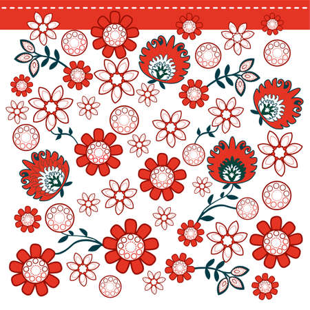 souvenir: folk pattern with red flowers Illustration
