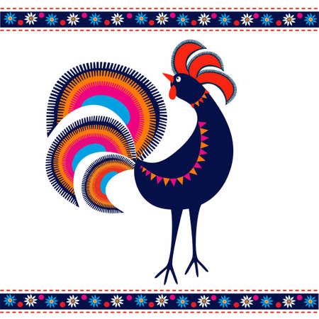 Rooster folk pattern