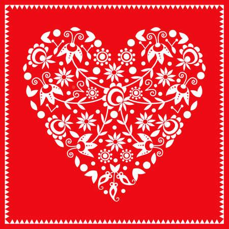 Heart with polish folk pattern Ilustrace
