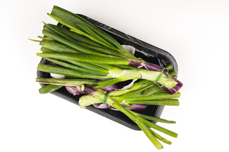 Organic waste of onion scraps on slate plate and white background - top view Stock Photo