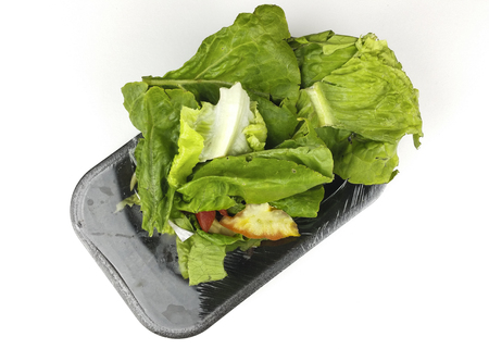 Organic waste of tomatoes, onion and lettuce scraps on slate plate and white background - top view