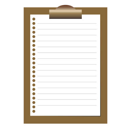 lined paper: Clipboard with white blank paper. Lined paper