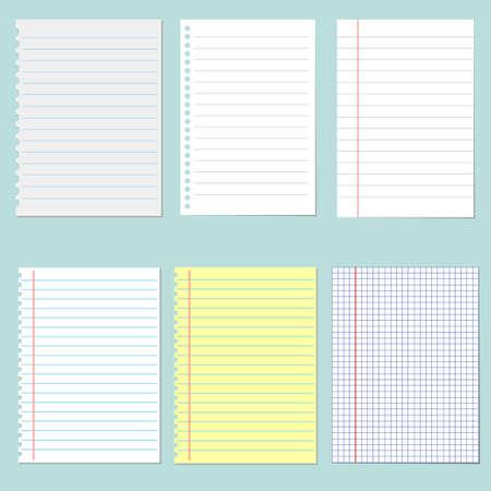 notebook paper: Set of different notebook paper. School notebook paper Illustration