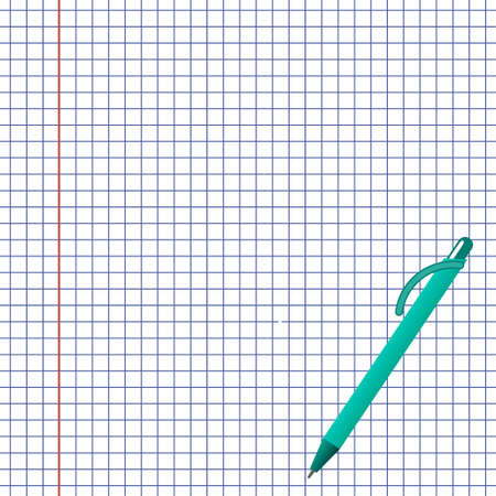notebook paper: School notebook paper and pen Illustration