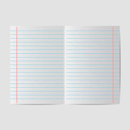 spread sheet: School paper line Illustration